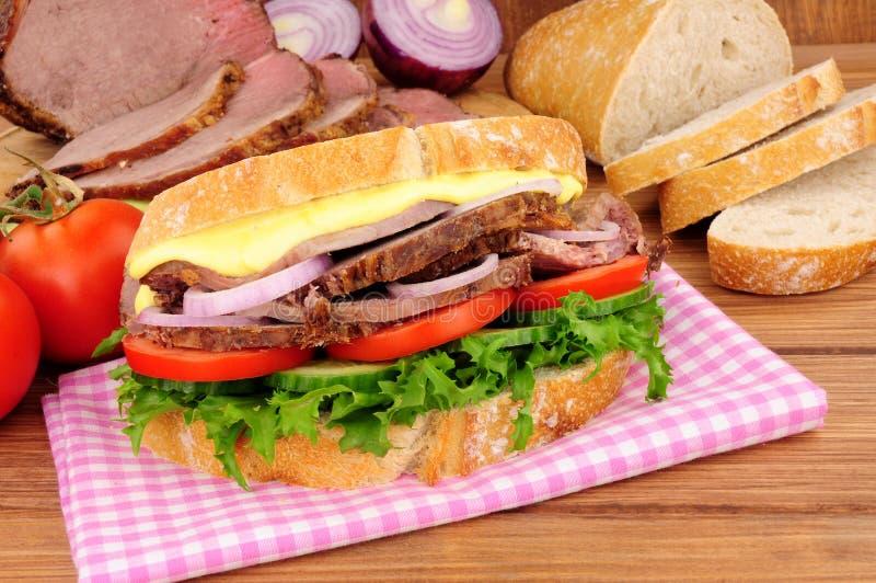 Roast Beef Salad Sandwich royalty free stock photos