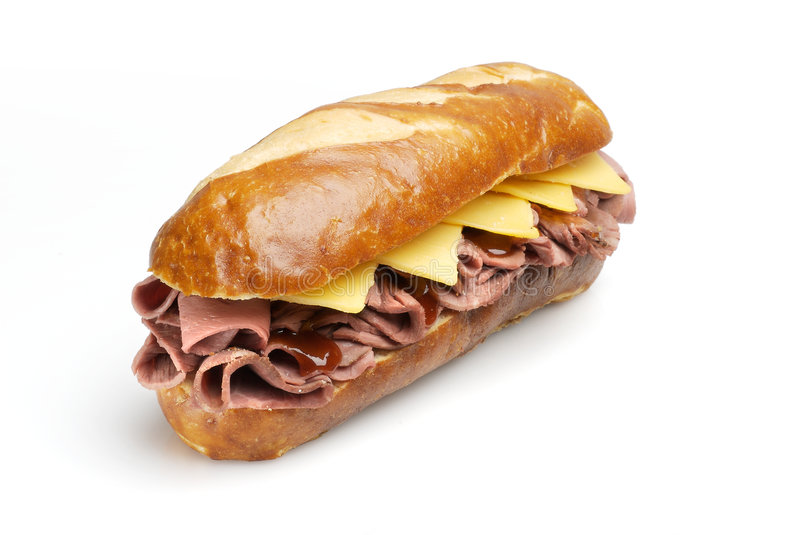 Roast Beef Sandwich with Clipping Path royalty free stock image