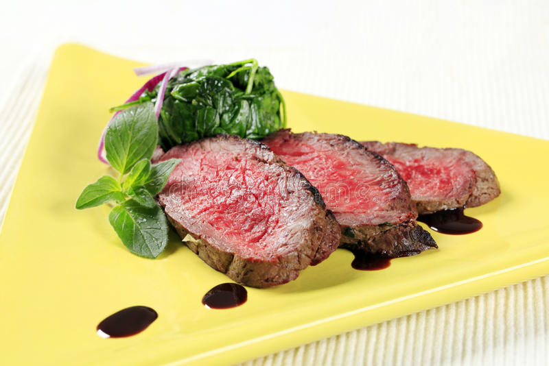 Download Roast Beef And Spinach Leaves Stock Image - Image: 23746679