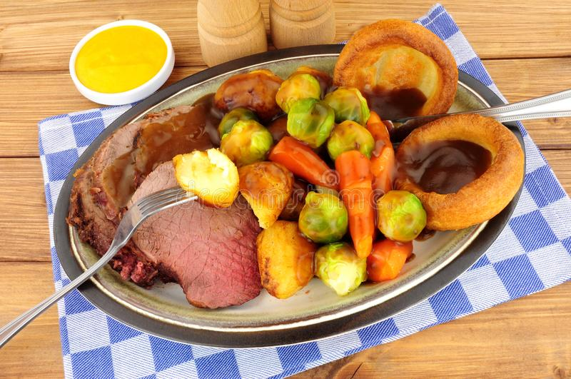 Roast Beef Meal In Yorkshire Pudding stock photos