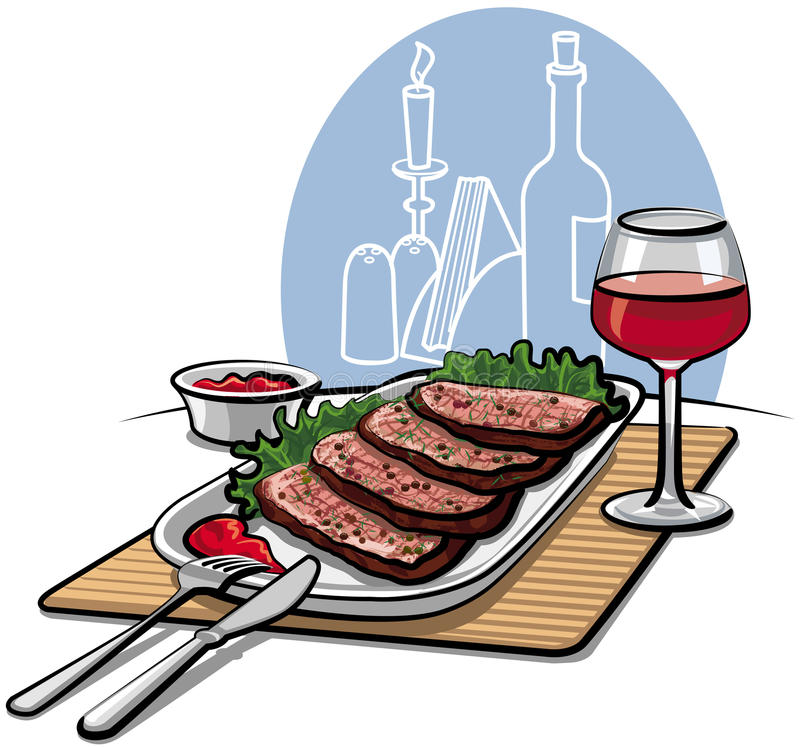 Download Roast beef and wine stock vector. Image of meal, beef - 23882708