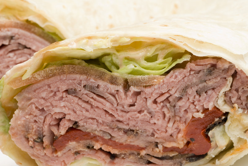 Roast beef wrap stock photo