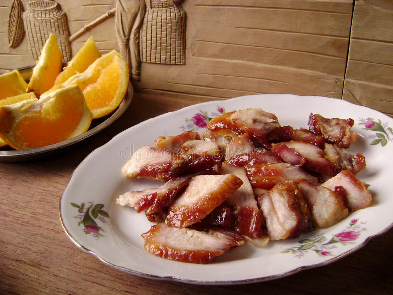 Roast char siu pork dinner royalty free stock images