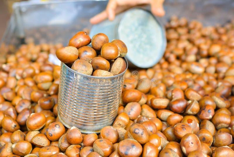 Roast chestnut stock photos