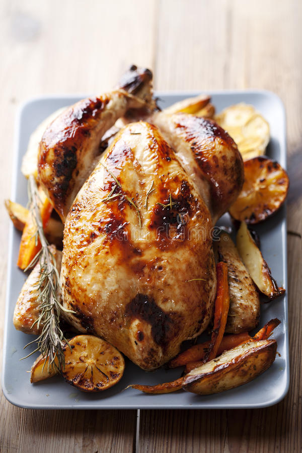 Download Roast chicken stock photo. Image of skin, brown, cooked - 23268376