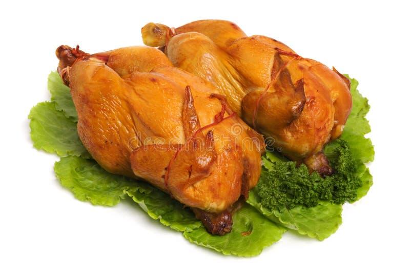 Roast Chicken. Tasty Crispy Roast Chicken on white stock photo