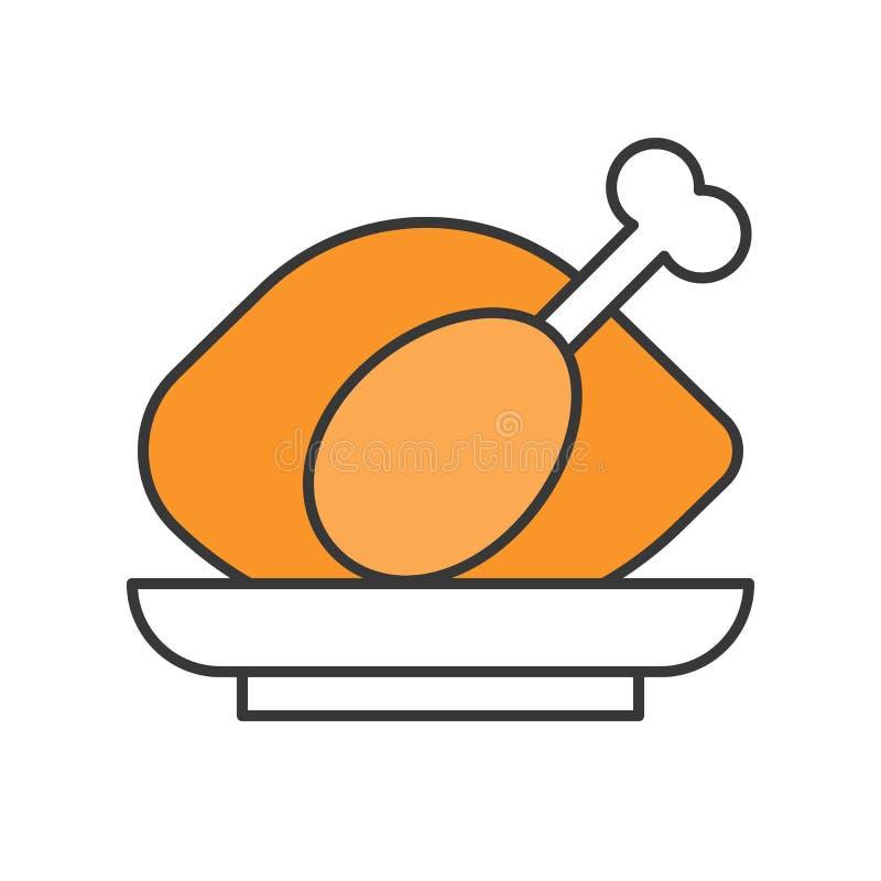 Roast chicken, Food set, filled outline icon vector illustration