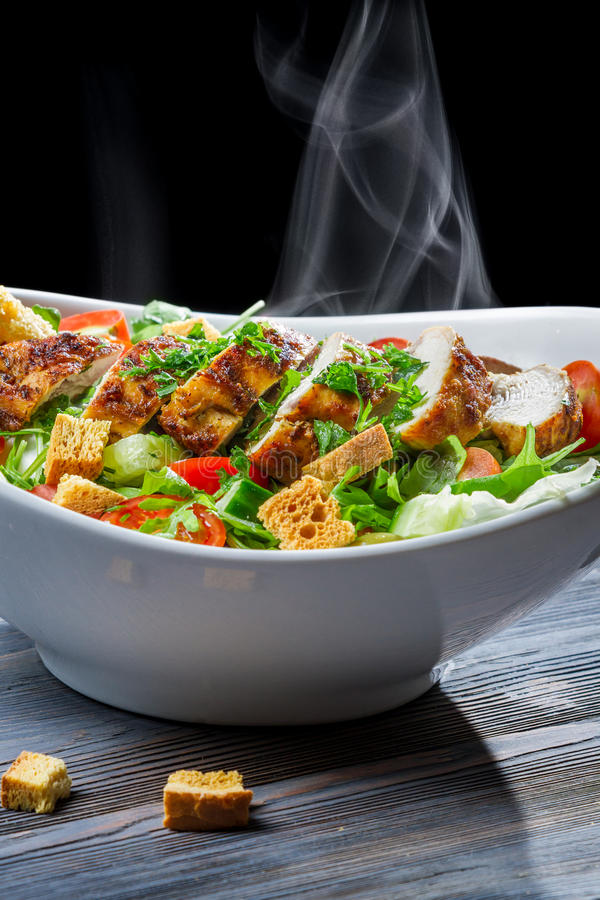 Roast chicken and fresh vegetables as a healthy meal royalty free stock photos