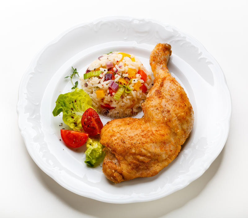 Roast chicken leg royalty free stock image