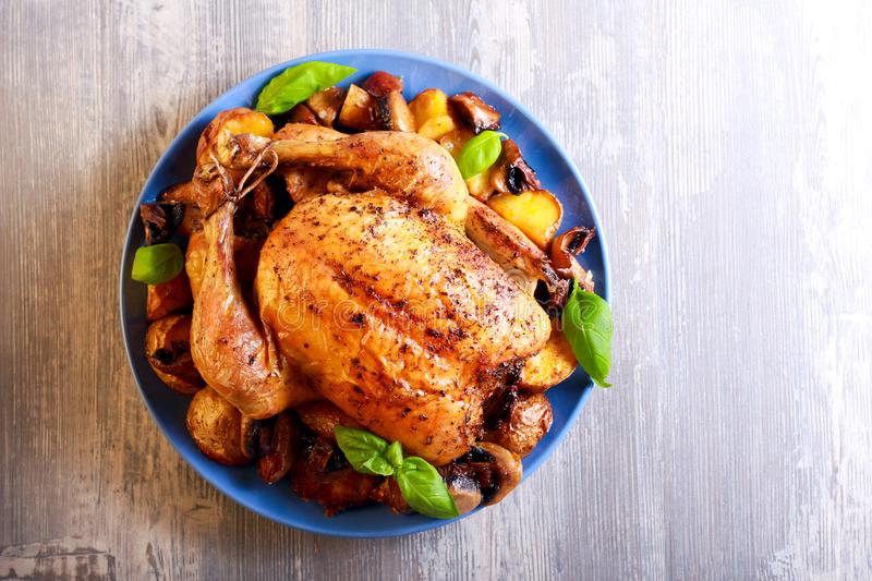 Roast chicken with potato and mushrooms. On plate royalty free stock photos
