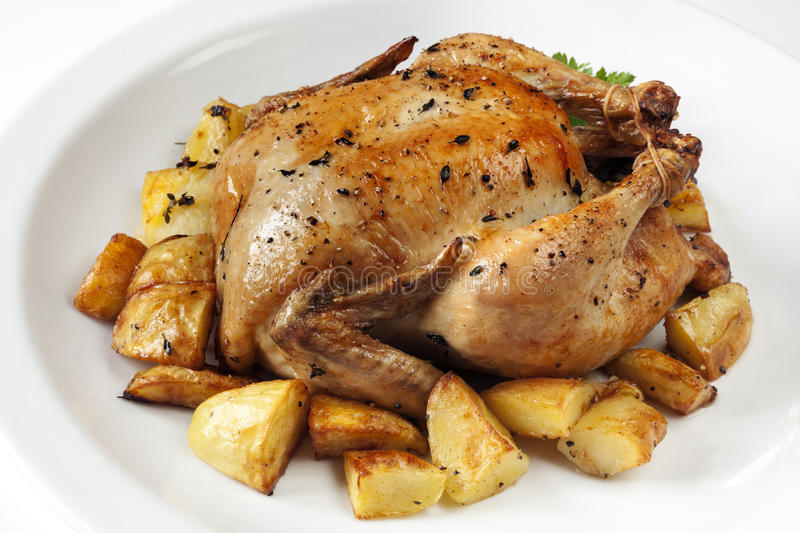 Download Roast Chicken And Potatoes Royalty Free Stock Photography - Image: 29495637