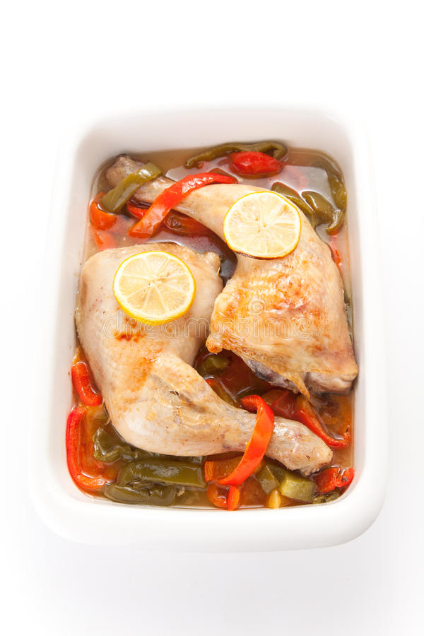 Download Roast Chicken With Red And Green Peppers Royalty Free Stock Photos - Image: 12509528