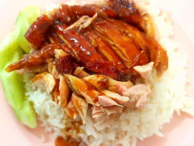 Roast chicken with rice. Brown roast chicken with rice stock images