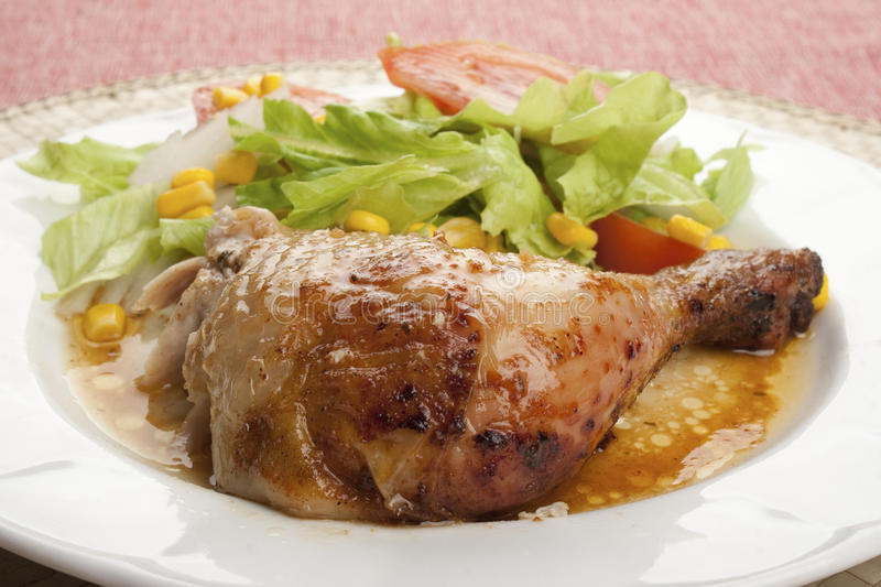 Roast Chicken With Salad Royalty Free Stock Image