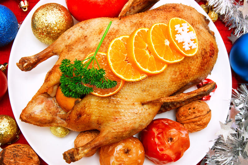 Roast christmas goose. stock images