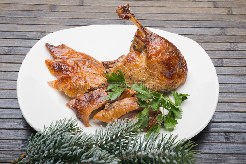 Roast duck. Portion prepared food stock photo