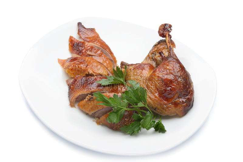 Roast duck. Portion prepared food stock images