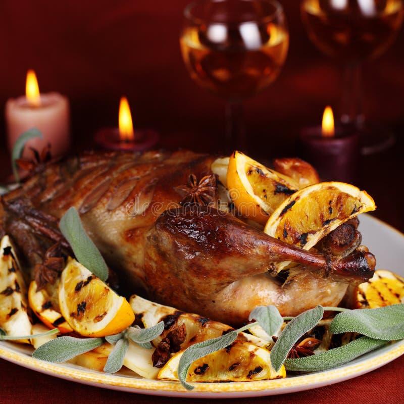 Roast duck with orange royalty free stock image
