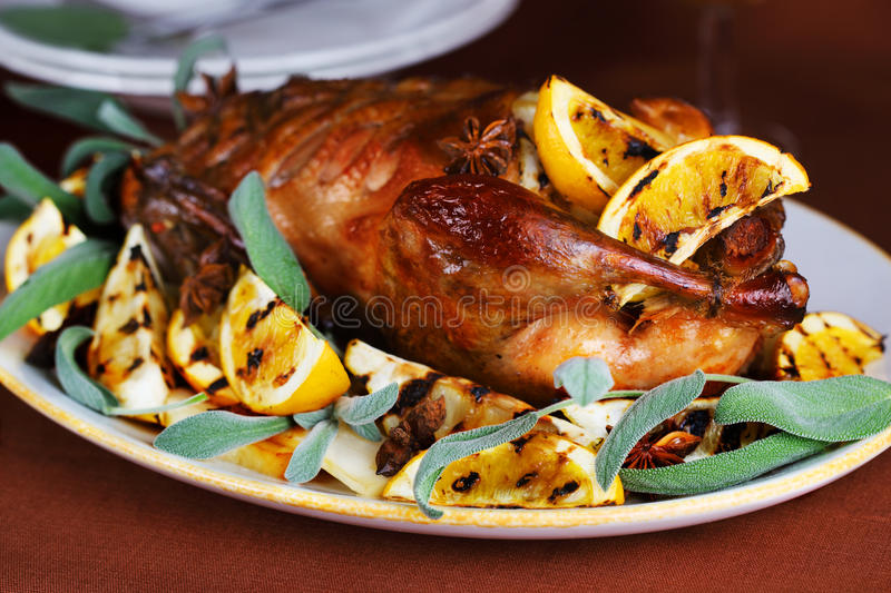 Roast duck with orange royalty free stock images