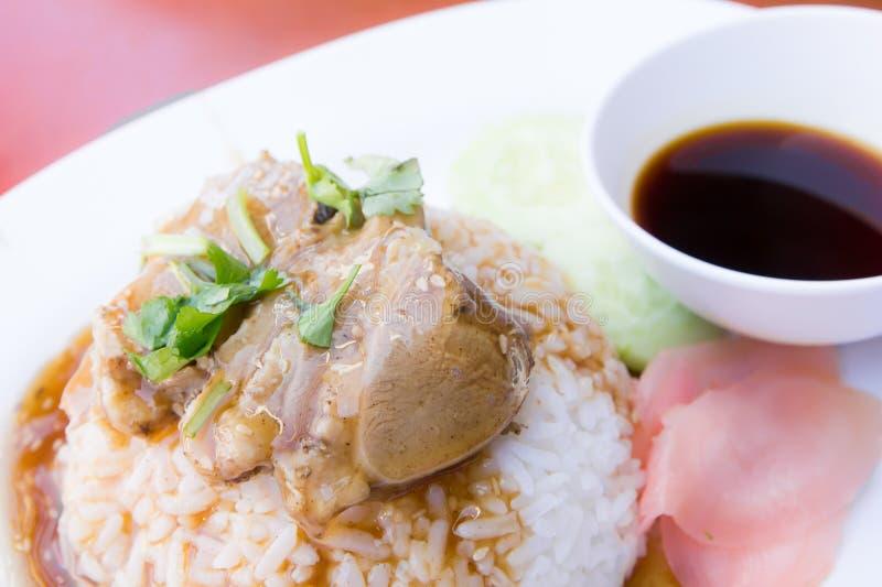 Roast duck on rice stock photo
