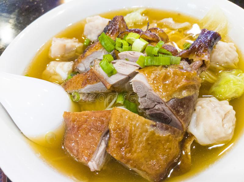 Roast Duck Wonton Noodle Soup For Breakfast. Hong Kong style roast duck noodle soup for breakfast, a comfort food that really comfort, the soup that sooth the stock images