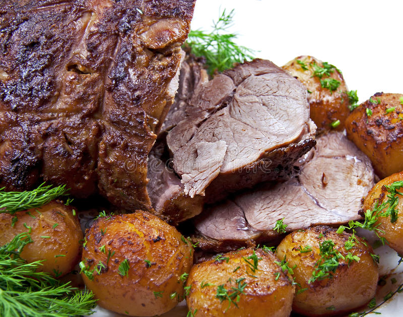 Roast leg of lamb. stock photo