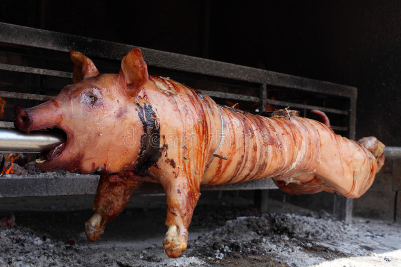 Roast pig. On a barbecue grill royalty free stock photo