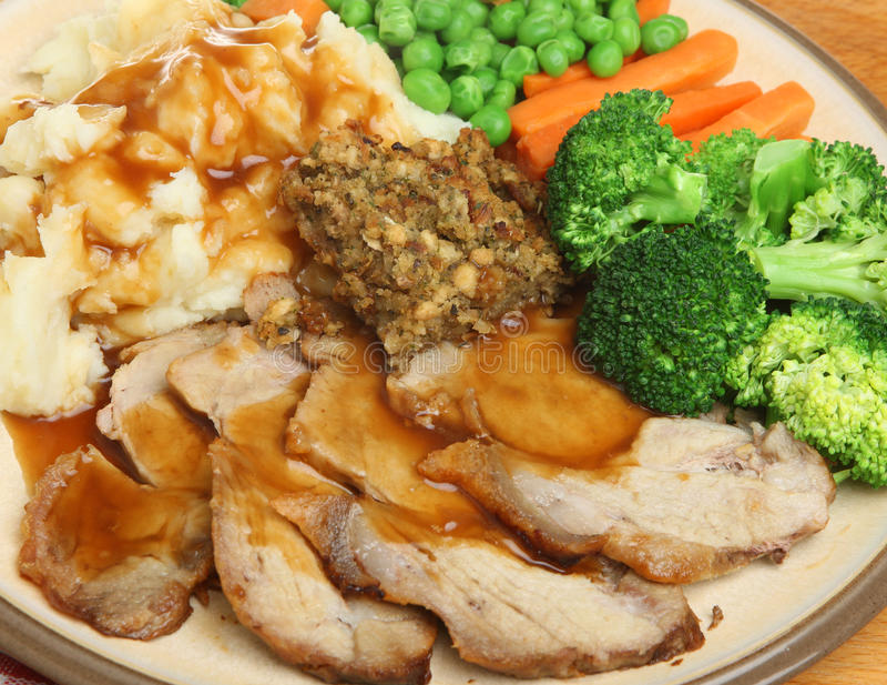 Roast Pork Dinner stock photo