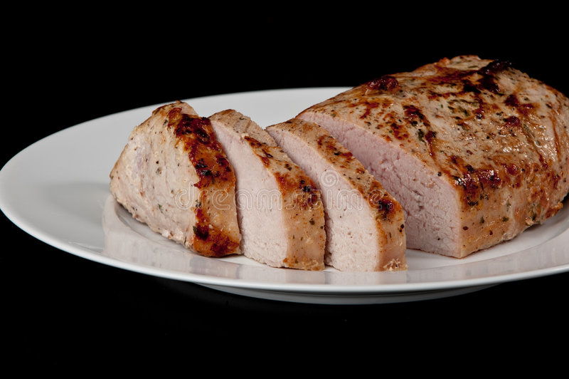 Roast pork loin stock image