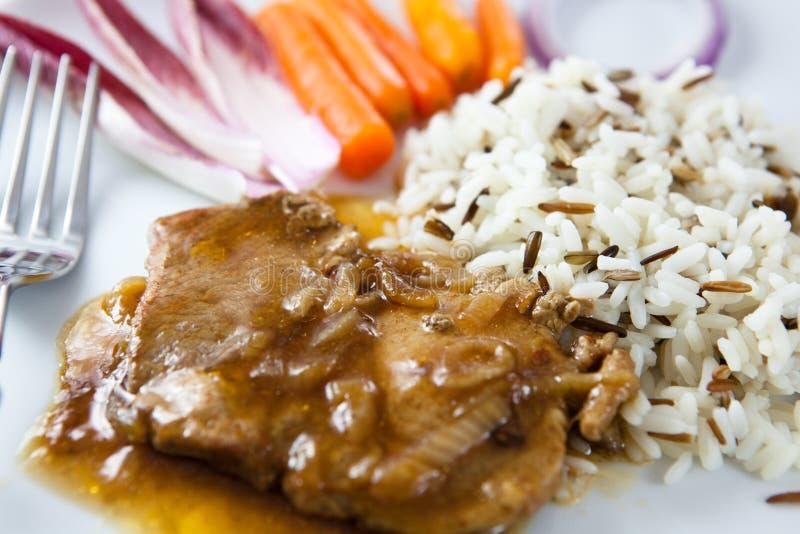 Roast pork with rice stock image