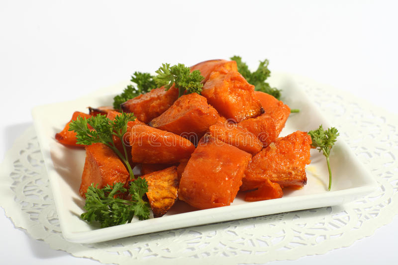 Roast sweet potatoes or yams royalty free stock photography