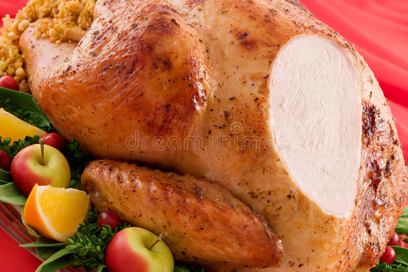 Roast Turkey. Close-up of a fresh roast turkey with herbs and fruits on a platter