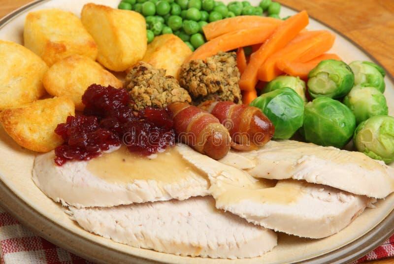 Roast Turkey Christmas Dinner royalty free stock photo