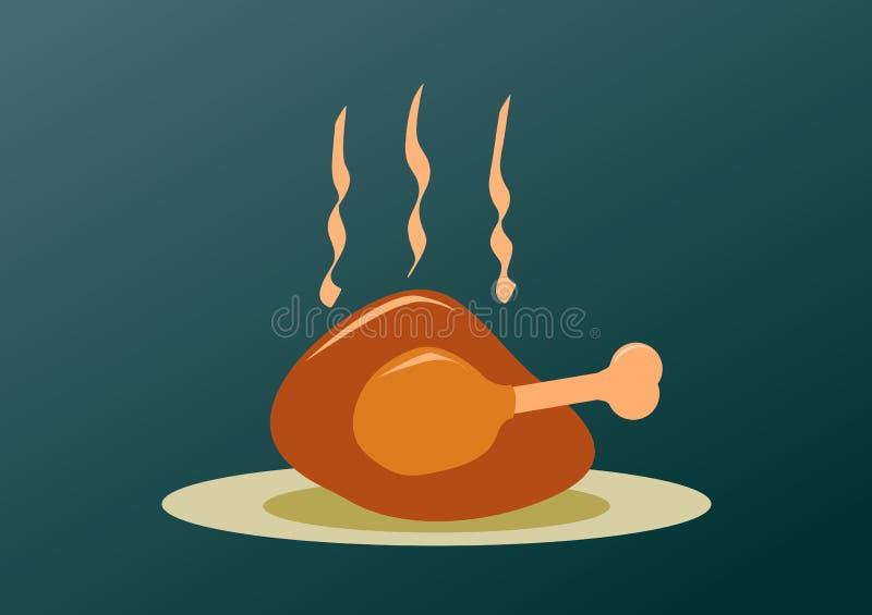 Roast turkey for Christmas. Thanksgiving and easter editable illustration