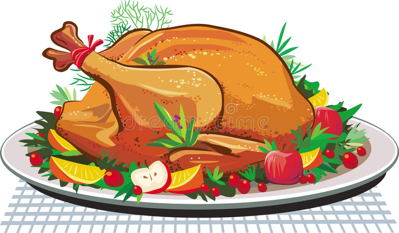 Roast turkey on the plate. Vector illustration