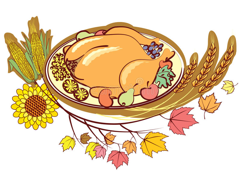 Roast turkey and text for holiday. stock illustration