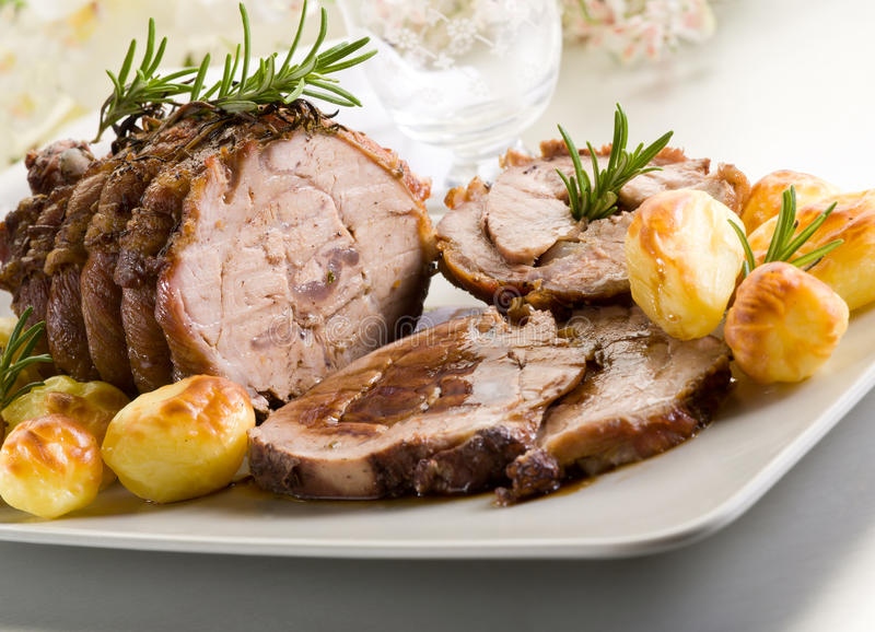 Roast of veal. With potatoes royalty free stock photos