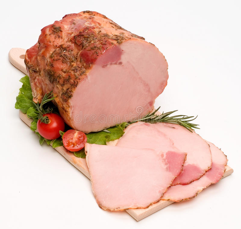 Roast of veal in white background stock image