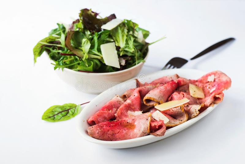 Roaste beef and lettuce variation stock photos