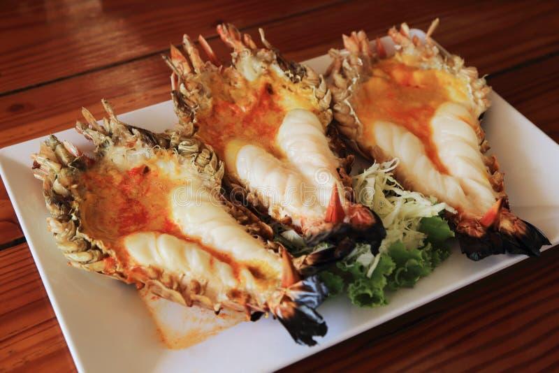 Roasted烤了巨型河虾或大虾,泰国fod 图库摄影