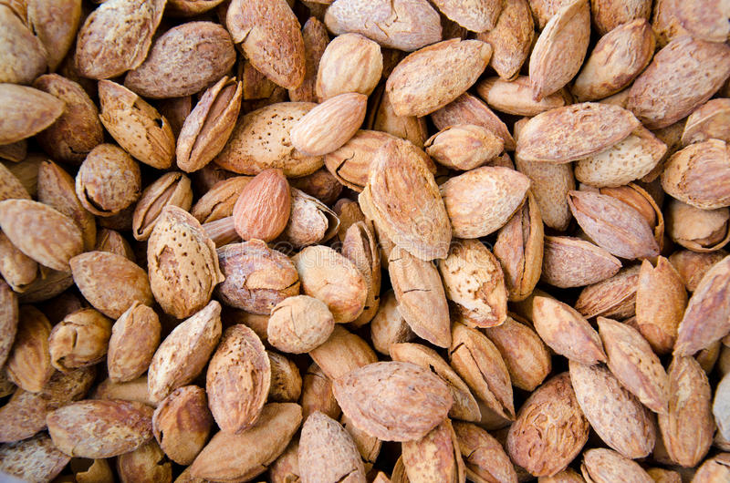 Roasted almond. Cooked by heat and add butter stock image