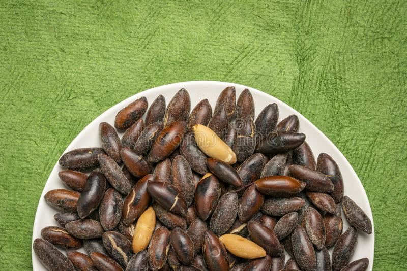 Roasted baru nuts on a black plate. Against green textured bark paper stock images