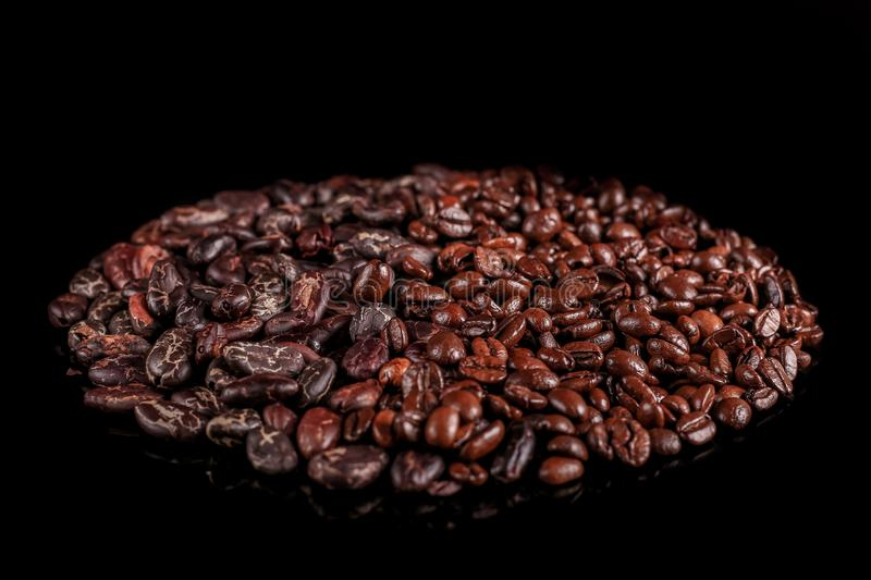 Roasted beans. Cocoa beans and coffee beans. Roasted beans. Cocoa beans and coffee beans isolated on black background royalty free stock photo