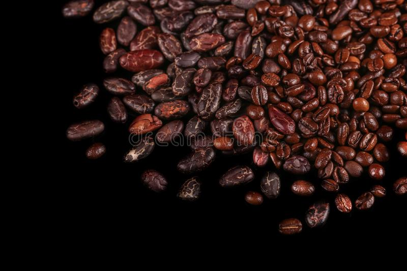 Roasted beans. Cocoa beans and coffee beans. Roasted beans. Cocoa beans and coffee beans isolated on black background royalty free stock photos