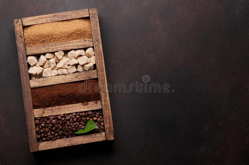 Roasted and ground coffee, brown sugar stock photos