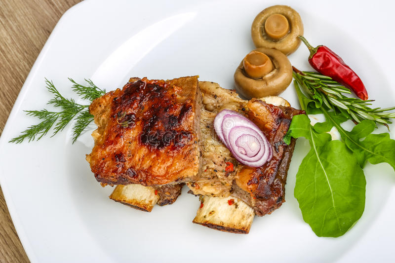 Roasted beef ribs royalty free stock image