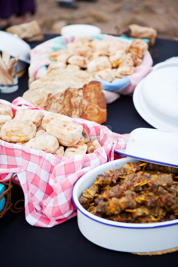 Download Roasted Bread And Mutton Kebabs In Dishes Stock Photo - Image: 26470142