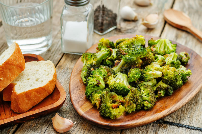 Roasted broccoli with garlic stock images