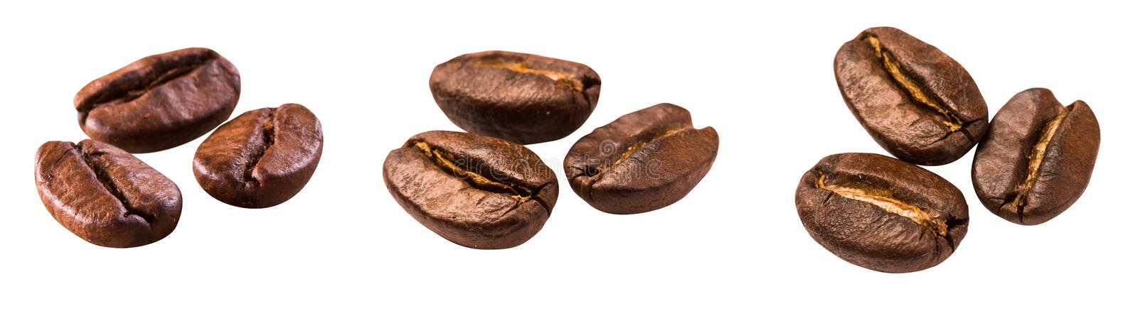 Roasted brown coffee beans isolated stock image