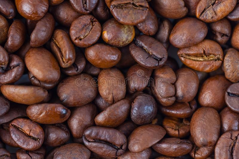 Roasted brown coffee beans pattern, background, top view.  stock images